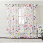 VCNY Home Floral Serena Sheer Grommet Top Window Curtains, Set of 2, Multiple Sizes Available