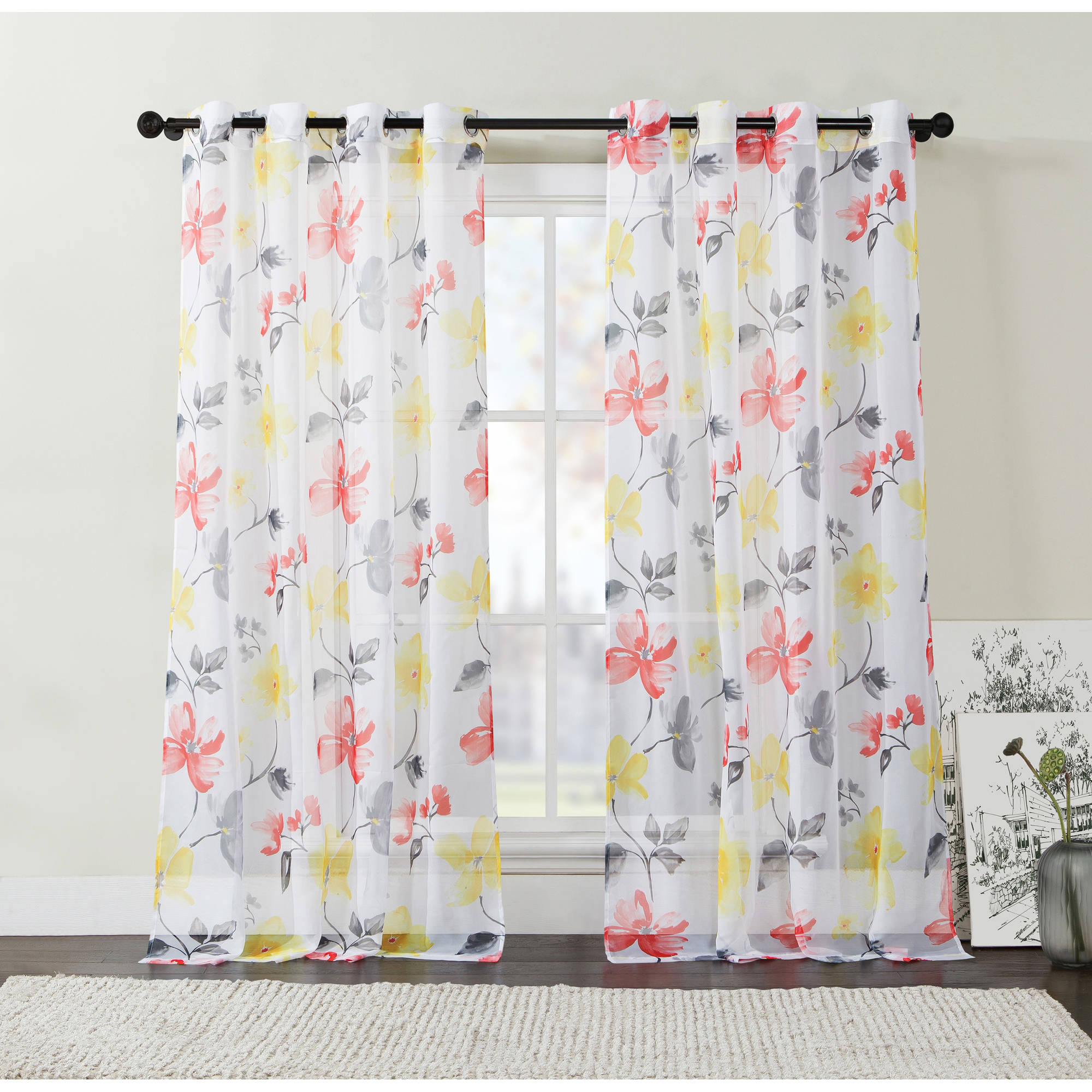 ***DISCONTINUED*** VCNY Home Floral Serena Sheer Grommet Top Window Curtains, Set of 2, Multiple Sizes Available