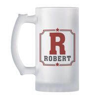 Personalized Any Name + Initial Frosted Beer Mug - Available in 4 Colors