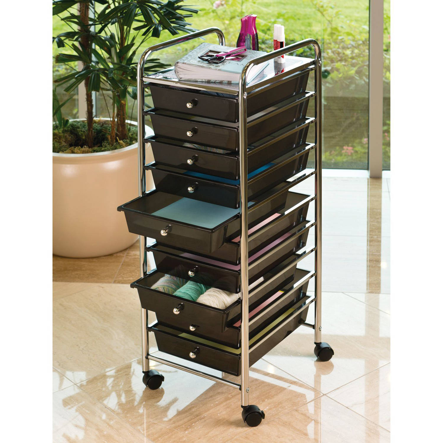 Captivating 10 Drawer Organizer Cart, Black By Seville Classics   Walmart.com