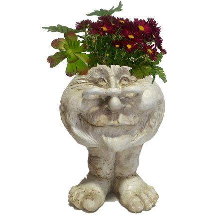 Homestyles 14 in. Antique White Grandma Rose the Muggly Face Humorous Statue Planter Holds 7 in. Pot ()