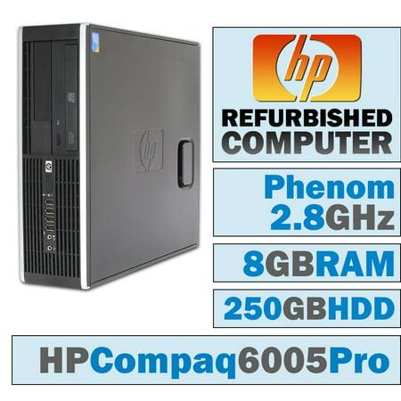 REFURBISHED HP 6005 Pro SFF/Phenom II X4 B93 @ 2.80 GHz/8GB DDR3/250GB HDD/DVD-RW/No OS