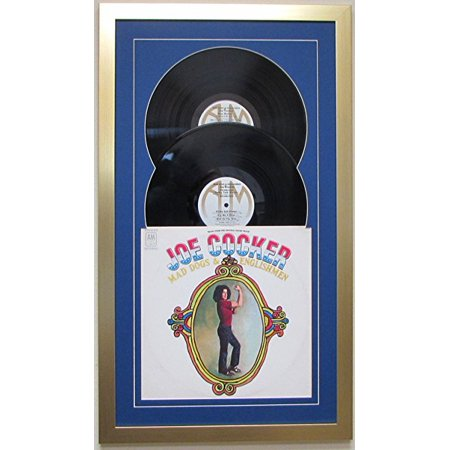 - Record Album Double Vinyl LP Frame Display Featuring Dark Blue Matting