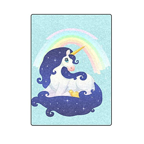 CADecor Beautiful Space Unicorn Rainbow Throw Blanket Bed Sofa Blanket 58x80 inches