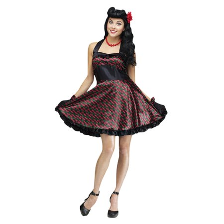 Ladies Cherry Bomb Vintage Pin Up 50s Retro Rockabilly Dress Costume Cosplay