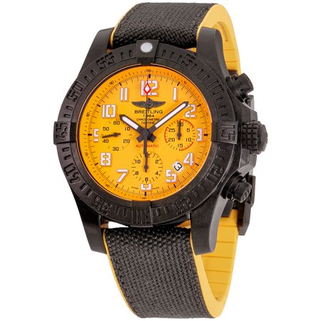 Breitling Avenger Hurricane 45 Cobra Yellow Dial Men's Watch XB0180E4/I534/109W/M20BASA.1 Breitling Avenger Hurricane 45 Cobra Yellow Dial Men's Watch XB0180E4/I534/109W/M20BASA.1. The 45 mm version of the super-charged Breitling, this selfwinding chronograph houses a high-performance Manufacture Breitling Caliber 01 in an ultra-sturdy, ultra-light case in Breitlight: an avant-garde alloy used for the first time in the watch industry.
