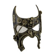 Zeckos - Metallic Steampunk Bat Fantasy Half Face Masquerade Mask - Gold - Size Adult one size fits most