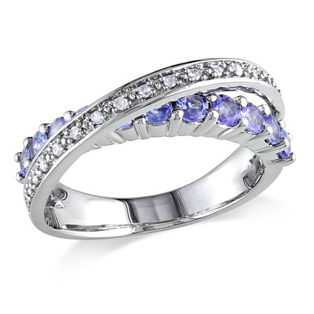 3/4 Carat T.G.W. Tanzanite and 1/10 Carat T.W. Diamond Sterling Silver Crossover Ring