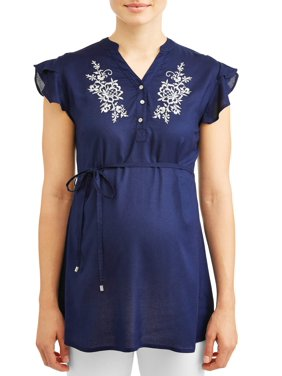 Oh! Mamma Maternity embroidered top - available in plus sizes