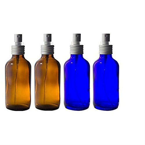 Amber Glass and Cobalt Blue Boston Round Bottle with Aluminum Fine Mist Sprayer - 4 oz (4 Pack) + Labels