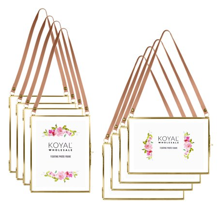 Koyal Wholesale Gallery Wall Frames Leather Strap Gold Metal Floating Hanging Photo Frames 8