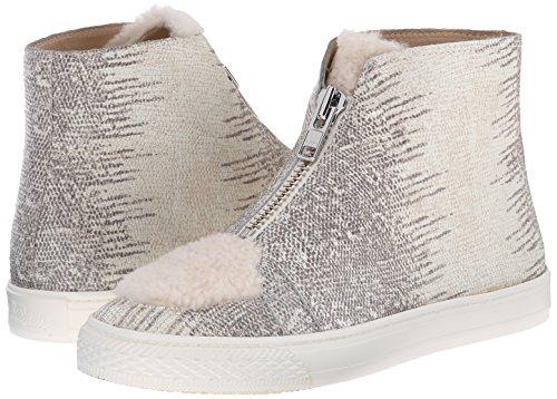 LOEFFLER RANDALL Women's Devin Embossed Lizard and Nubuck Fashion Sneaker, Cream/Bone, 5.5 M US