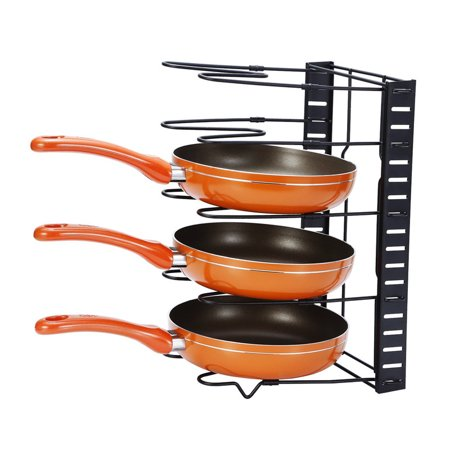 Yosoo Heavy Duty Pot & Pan Organizer Rack Holder - Best for Kitchen and Cabinet Storage of Pots Pans Lids - Great for