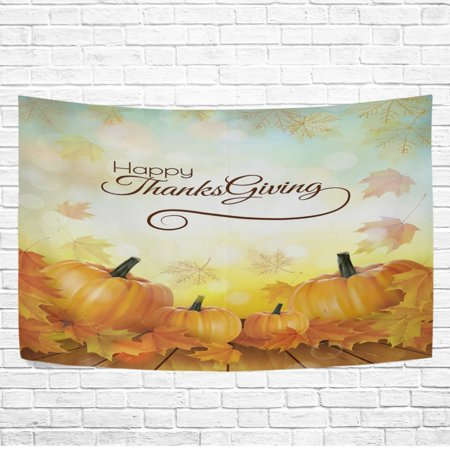 POPCreation Home Decor Collection, Happy Thanksgiving Day Maple Leaf Pumpkin Wall Art Polyester Tapestry Wall Hanging Art 40x60 inches