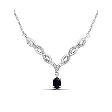 0.67 Carat T.G.W. Sapphire Gemstone and Accent White Diamond Women's Pendant