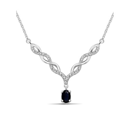 0.67 Carat T.G.W. Sapphire Gemstone and Accent White Diamond Women's (Multiple Gemstone Pendant)