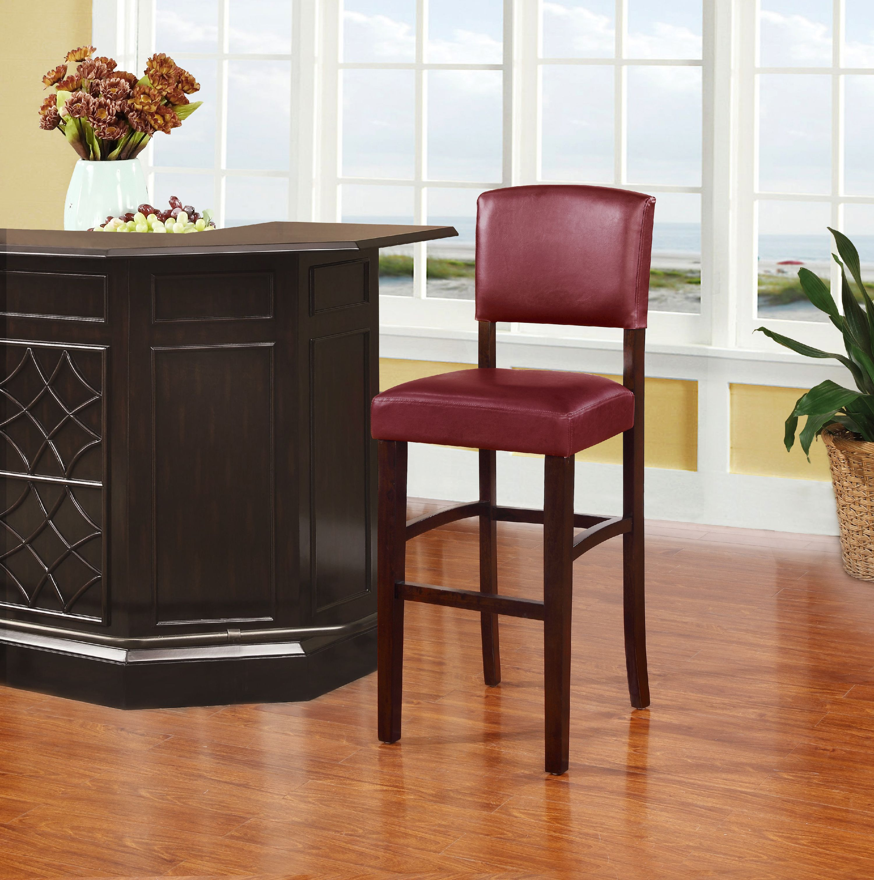Linon Monaco Bar Stool Dark Red 30 Inch Seat Height