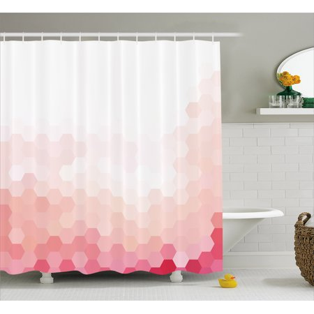 Pale Pink Shower Curtain Gradient Toned Geometric Digital Abstract Hexagon Modern Display Fabric Bathroom Set With Hooks White Coral Peach Magenta