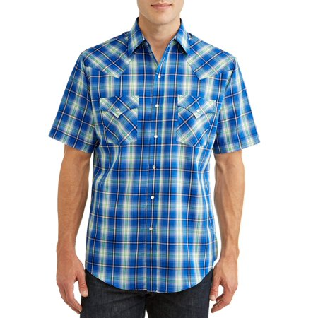Plains Men's Short Sleeve Plaid Western Shirt, up to Size (Western Cowboy Pearl Snap Shirt)