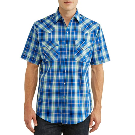 Plains Men's Short Sleeve Plaid Western Shirt, up to Size 6XL - Mens Print Western Shirt