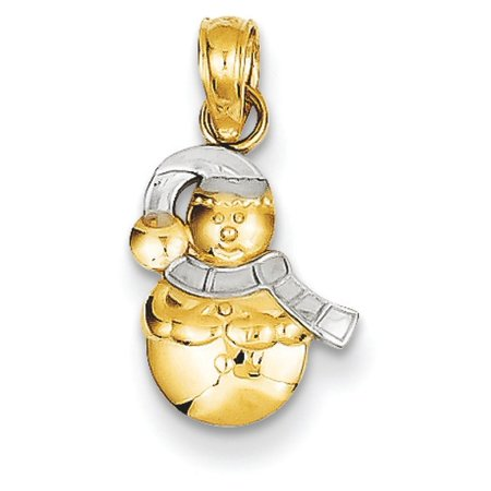 14k Gold Snowman Pendant Rhodium 5 Grams