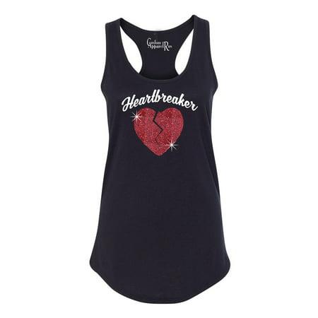 Red Racerback Tank Top - Heartbreaker Red Glitter Heart Valentine Womens Graphic Tees Racerback Tank