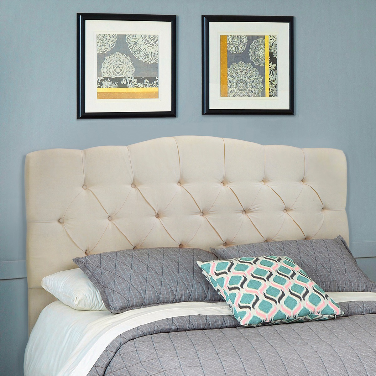 Full/Queen Bed Headboard Modern Tufted Fabric, Beige