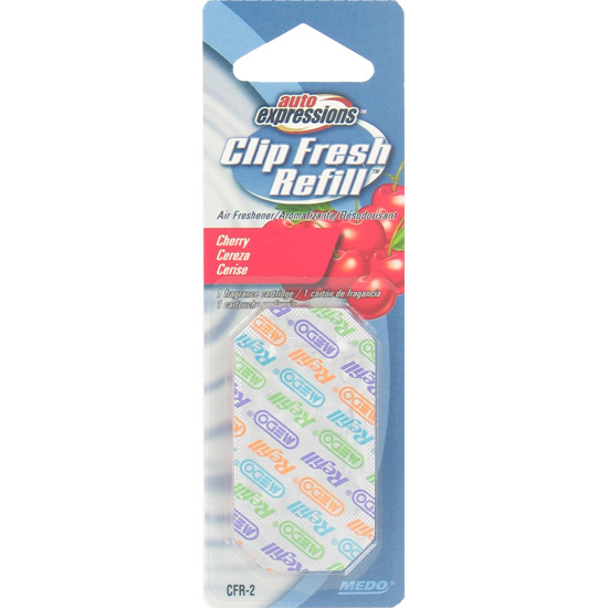 Medo Auto Expressions Clip Fresh Refill Cherry Car Air Freshener- XSDP -18502 - The Auto Expressions Clip Fresh Refill Air Freshener Cartridge lets you refill your Clip Fresh unit vs. having to r
