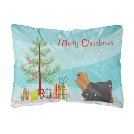 yorkshire terrier yorkie merry christmas tree canvas fabric decorative pillow