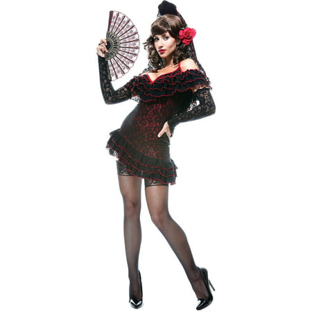 Spanish Woman Costume (Lady of Spain Women's Adult Halloween Costume, One Size, XS)