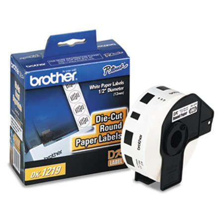 Brother DK1219 Round Paper Labels for QL PC Label Printers 1/2 dia 1200/Roll