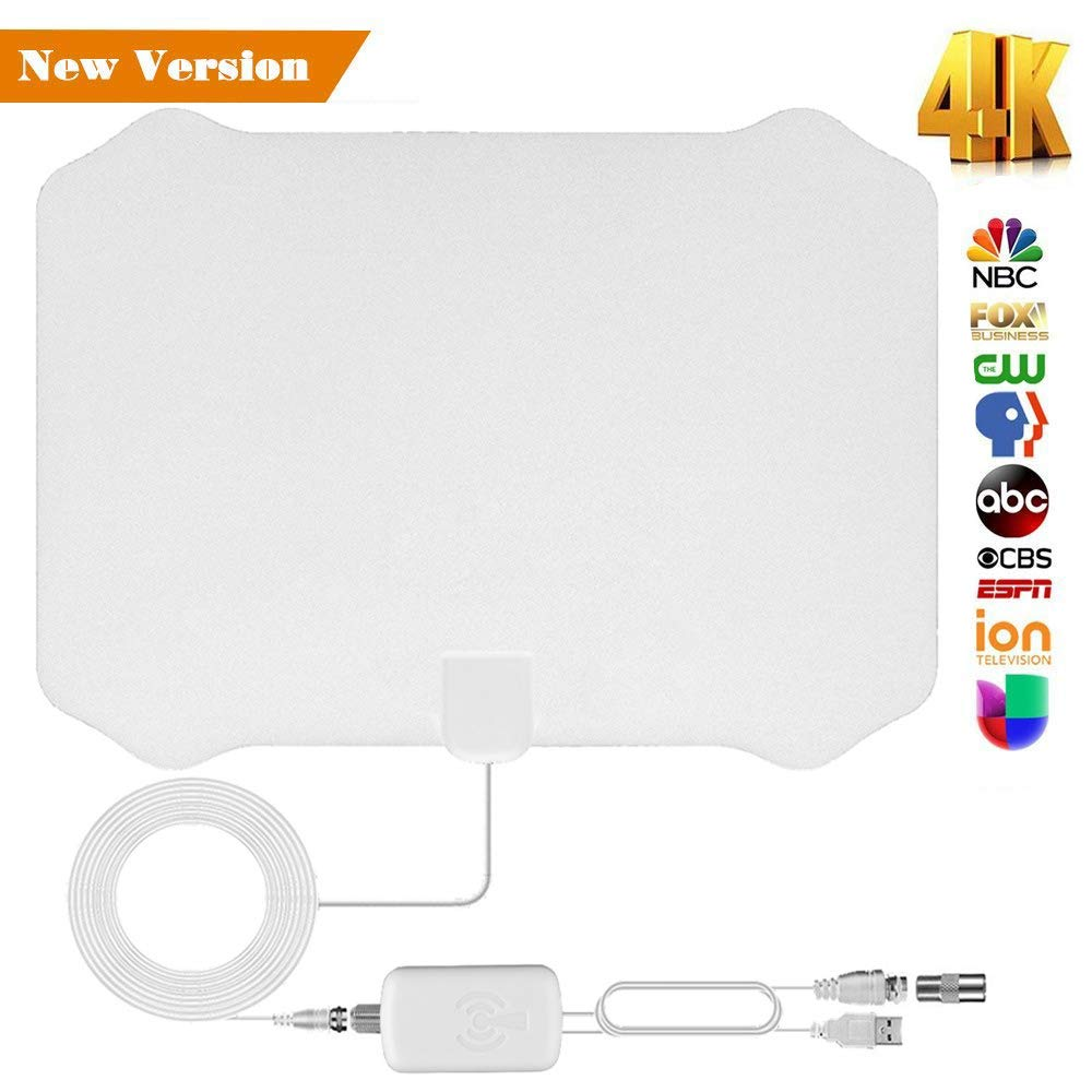 [2019 Upgraded] TV Antenna for Digital TV Indoor HDTV Antenna With 60-80 Miles Long Range Support 4K 1080p All Types TV's w/ Powerful Detachable Amplifier Signal Booster Power Adapter 13ft Coax Cable