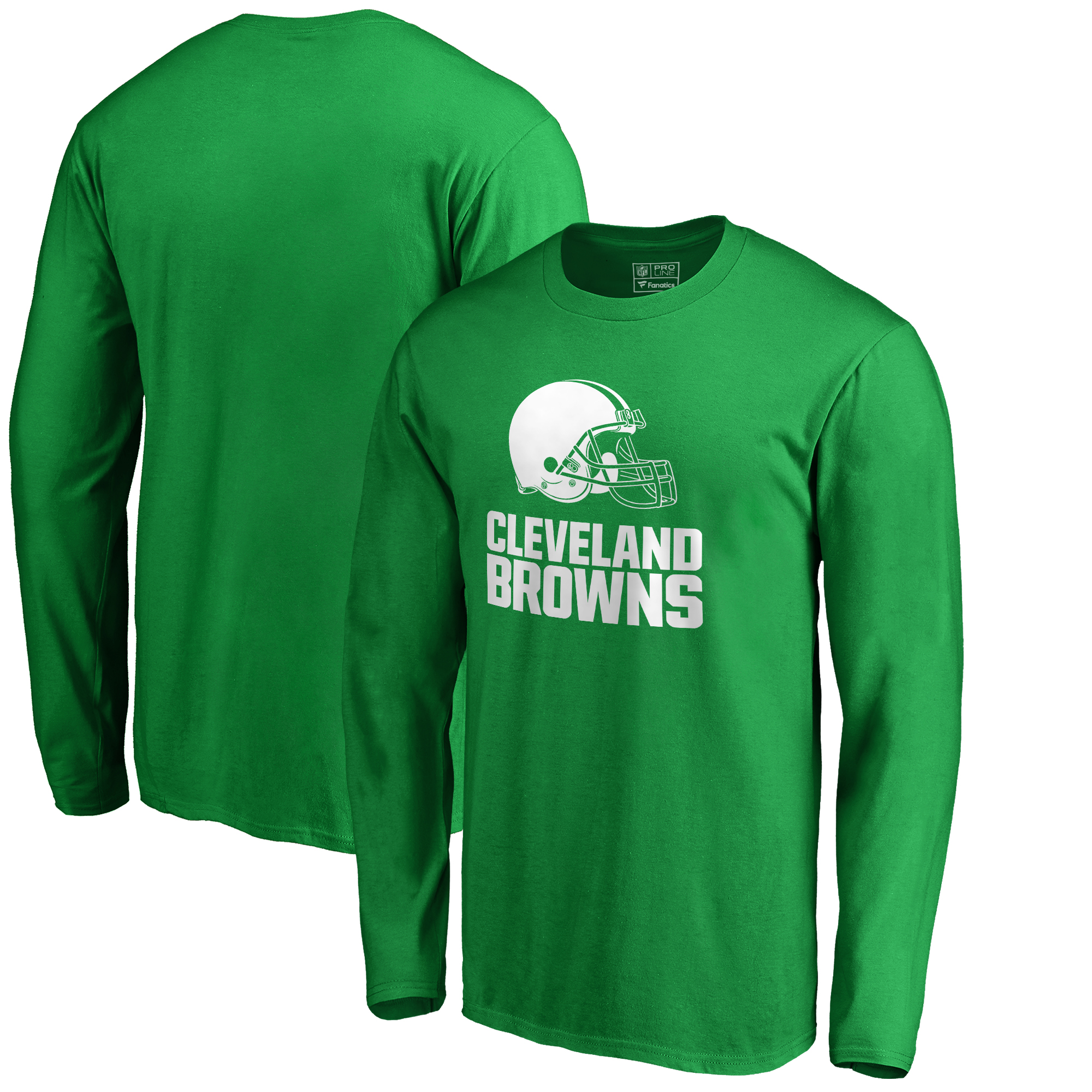 Cleveland Browns NFL Pro Line by Fanatics Branded St. Patrick's Day White Logo Long Sleeve T-Shirt - Kelly Green