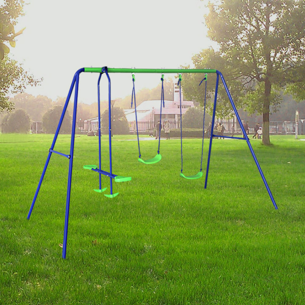 Metal Swing Set with Two Swings and Seesaw