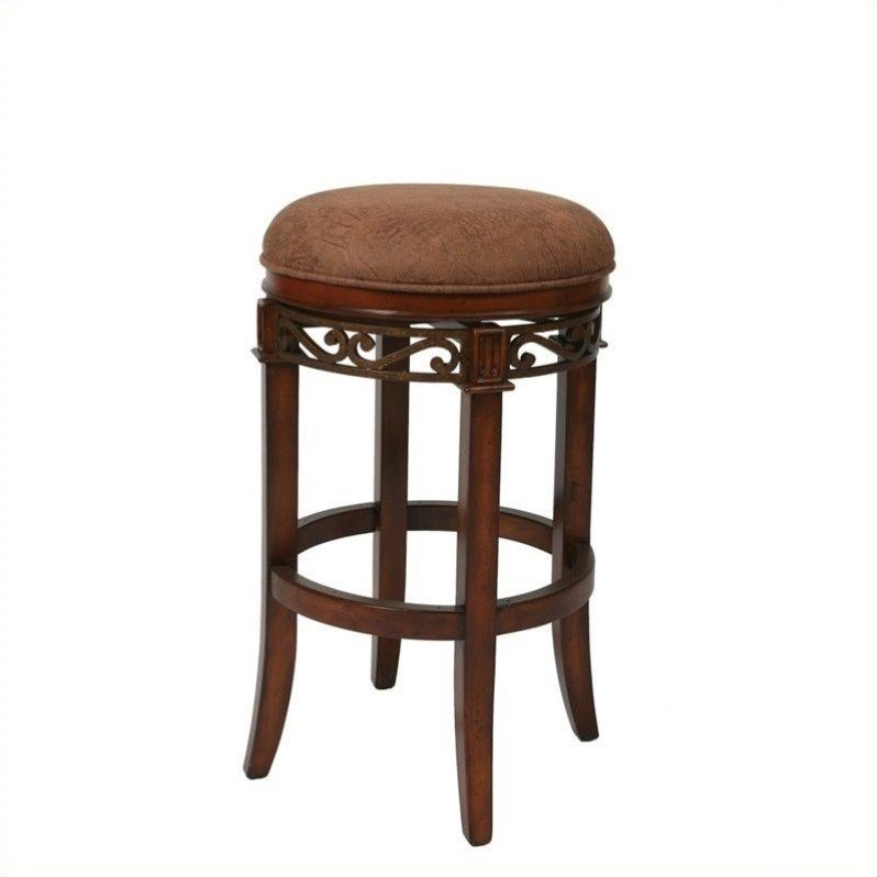 "Pastel Furniture 30"" Swivel Backless Bar Stool in Toffee and Carmel by Impacterra"
