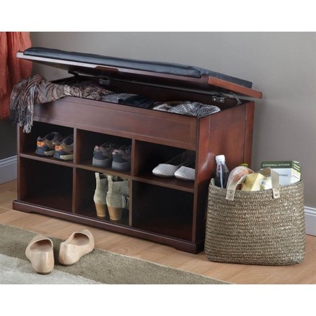 Wooden shoe bench with storage Shoe storage bench with cushion