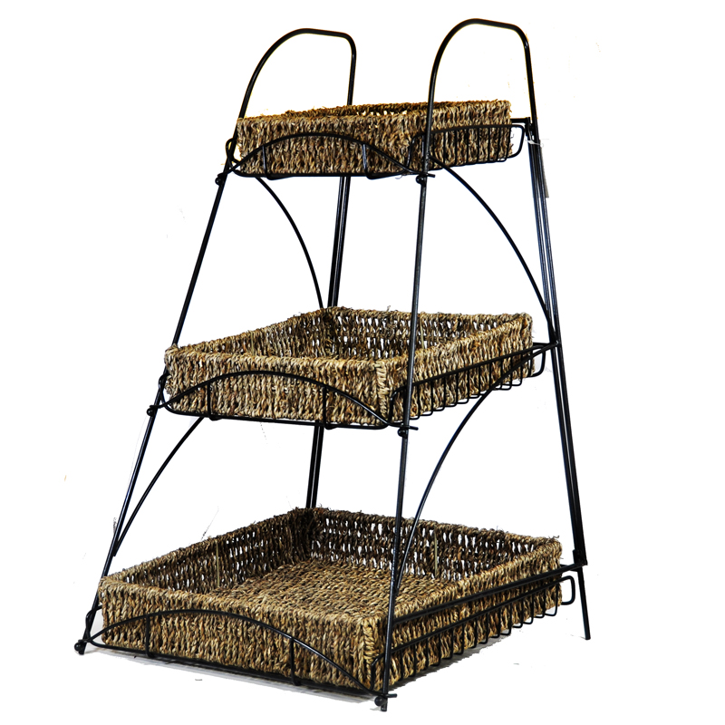 Tristan Triple Tiered Square Sea Grass Display 13in