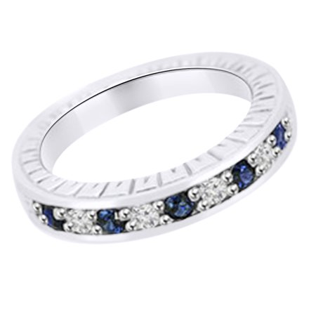 (0.35 cttw) Simulated Blue Sapphire & White Natural Diamond Antique Style Wedding Band Ring In 14k White