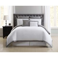 Truly Soft Everyday Hotel Border Gray 7 Piece King Duvet Set