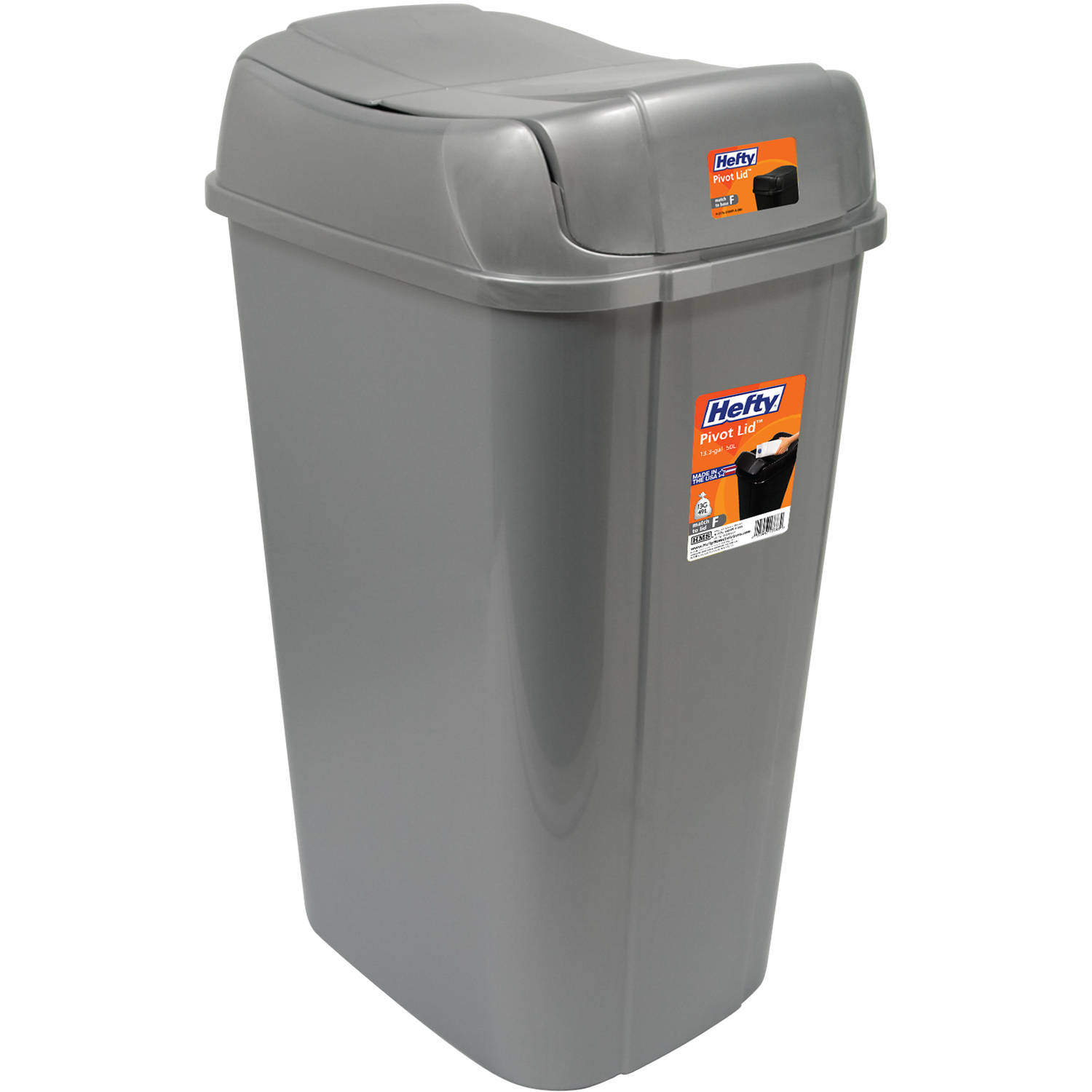 hefty pivot-lid 13.3-gallon trash can, silver - walmart