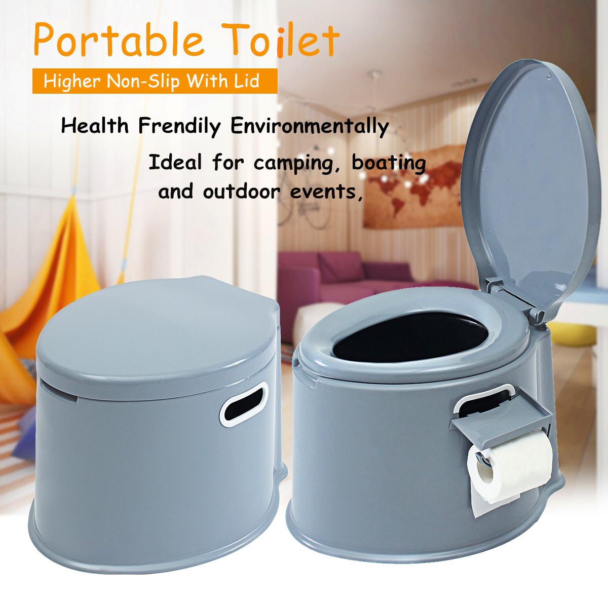 Portable Toilet Compact Potty Seat Travel Camping Caravan Picnic Indoor Outdoor Event... by