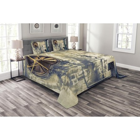 Vandalism Set (Industrial Bedspread Set, Damaged Wrecked Wall Image Destruction Vandalism Theme Broken Deserted Workplace, Decorative Quilted Coverlet Set with Pillow Shams Included, Multicolor, by Ambesonne)