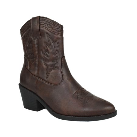 Burgundy Cowboy Boots (Picotee Brown Tan Soda Women Cowgirl Cowboy Western Stitched Ankle Boots Pointy Toe)