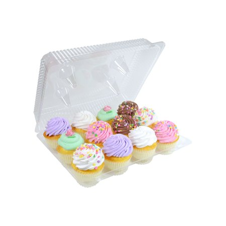Plastic Hinged Boxes - Detroit Forming 12 Count Clear Hinged Cupcake Container - 100 per case