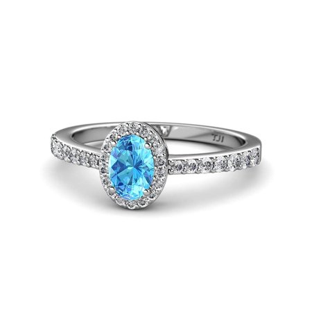 Oval 7x5mm Blue Topaz and Diamond Halo Engagement Ring 1.38 Carat tw in 14K White Gold.size 6.0