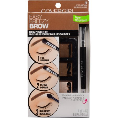 COVERGIRL Easy Breezy Brow Powder Kit, Soft Brown (Best Drugstore Brow Kit)