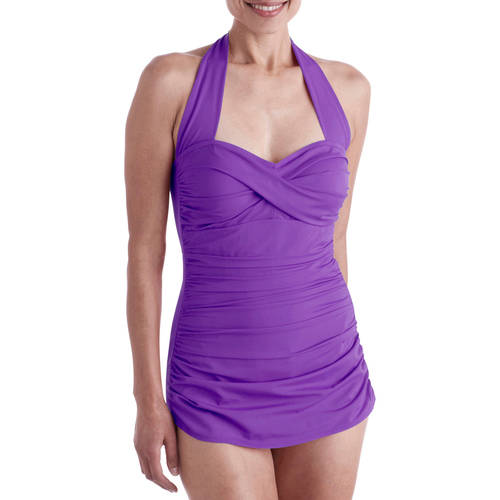 Suddenly Slim By Catalina Women's Slimming Shirred Halter One-Piece Swimsuit