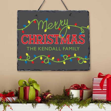 Personalized Merry Christmas Lights (Personalized Slate Wall Plaque)