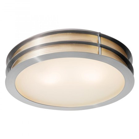 Brushed Steel / Frosted Iron 2 Light Flush Mount Ceiling Fixture