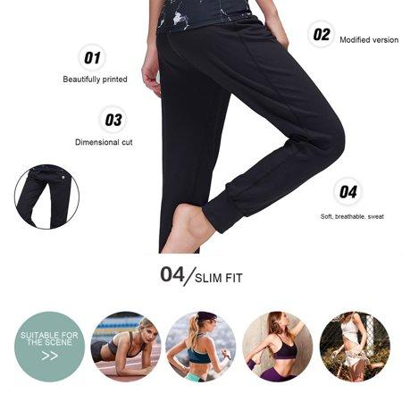 Pieryoga Women Yoga Long Pants Elastic Waist Breathable Casual Trousers Female Sweatpants Gym Running Sport Fitness Clothing  Black  L